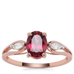 Mahenge Pnk Garnet Ring with White Zircon in 9K Rose Gold 1.87cts