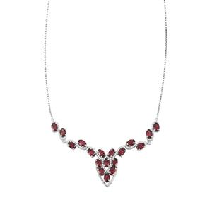 Ajmer Garnet Necklace with White Zircon in Platinum Plated Sterling Silver 10.37cts