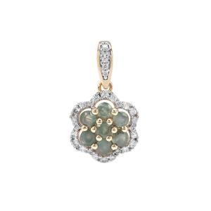 Orissa Alexandrite Pendant with White Zircon in 9K Gold 1.04cts