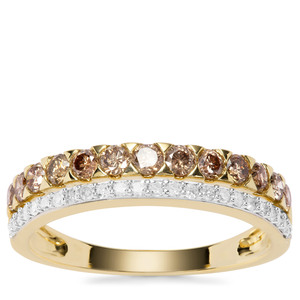 Champagne Diamond Ring with White Diamond in 9K Gold 0.75ct