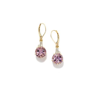 RIO GRANDE AMETHYST AND WHITE ZIRCON 9K GOLD EARRINGS 9.32CTS