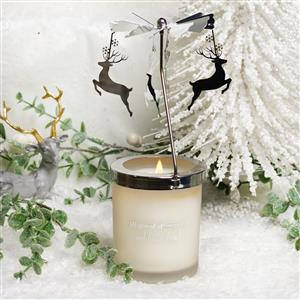 Stag Carousel Candle with White Jade