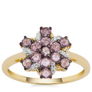 Sakaraha Pink Sapphire Ring with White Zircon in 9K Gold 0.74ct