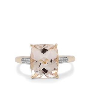 Champagne Danburite Ring with White Zircon in 9K Gold 4.30cts