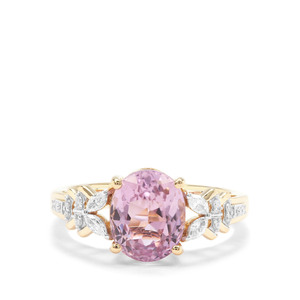 Mawi Kunzite Ring with Diamond in 18K Gold 3.24cts