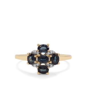 Australian Blue Sapphire & White Zircon 9K Gold Ring ATGW 1.22cts