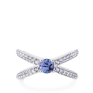 Tanzanite Ring with White Topaz in Sterling Silver 0.85cts