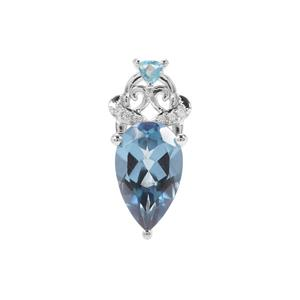 Santa Maria, Swiss Blue Topaz Pendant with White Zircon in Sterling Silver 3.96cts