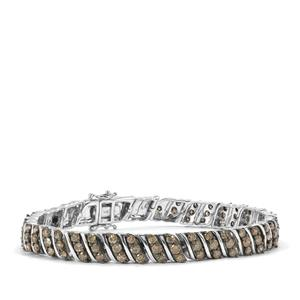 Champagne Diamond Bracelet in Sterling Silver 5ct