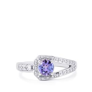 Tanzanite Ring with White Zircon in Sterling Silver 0.89ct