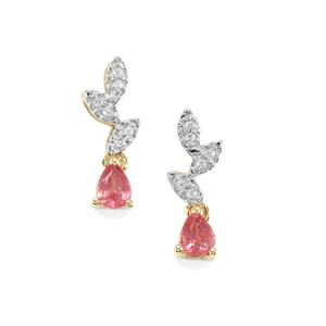 Padparadscha Sapphire Earrings with White Zircon in 10K Gold 0.67ct