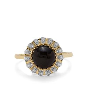 Cats Eye Enstatite Ring with White Zircon in 9K Gold 3.44cts
