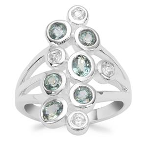 Natural Umba Sapphire Ring with White Zircon in Sterling Silver 1.88cts