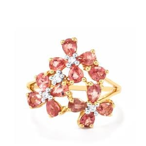 Padparadscha Sapphire Ring with White Zircon in 10k Gold 2.67cts