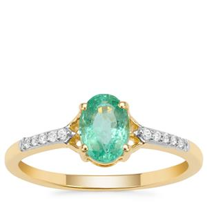 Siberian Emerald Ring with White Zircon in 9K Gold 0.85ct