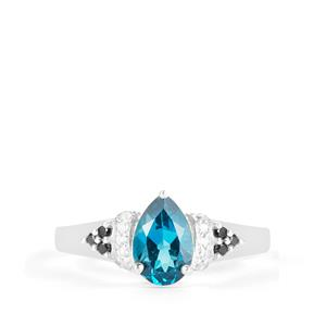 London Blue Topaz, Black Spinel Ring with White Zircon in Sterling Silver 1.96cts