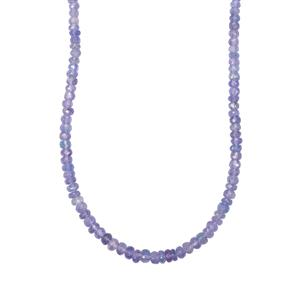 Tanzanite Bead Necklace in Sterling Silver 52cts