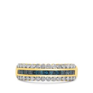 1ct Blue & White Diamond 9K Gold Ring