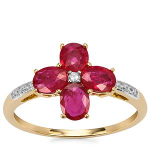 Montepuez Ruby Ring with Diamond in 10k Gold 1.40cts