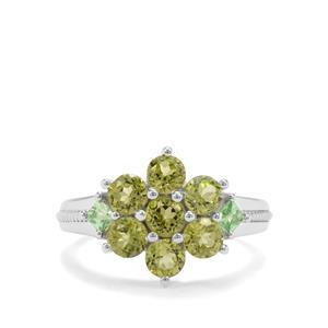Changbai Peridot & Tsavorite Garnet Sterling Silver Ring ATGW 2.22cts