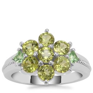 Changbai Peridot Ring with Tsavorite Garnet in Sterling Silver 2.22cts