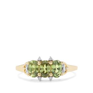 Ambanja Demantoid Garnet Ring with Diamond in 10k Gold 1.35cts