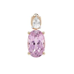 Kolum Kunzite Pendant with White Zircon in 9K Gold 4.24cts