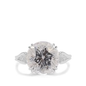 Polka Cut Optic Quartz Ring with White Zircon in Sterling Silver 7.95cts