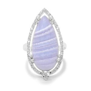 Blue Lace Agate & White Zircon Sterling Silver Ring ATGW 14.83cts
