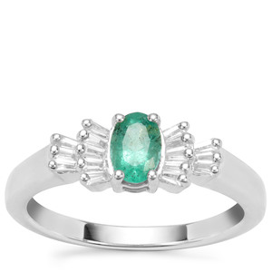 Zambian Emerald Ring with White Zircon in Sterling Silver 0.77ct