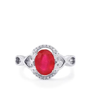 Malagasy Ruby & White Zircon Sterling Silver Ring ATGW 2.81cts (F)