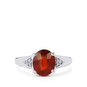 Hessonite Garnet Ring with White Zircon in Sterling Silver 3.45cts