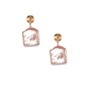 Baroque Cultured Pearl Earrings with White Topaz in Gold Tone Sterling Silver