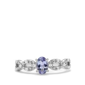 Tanzanite Ring with White Topaz in Sterling Silver 0.77cts