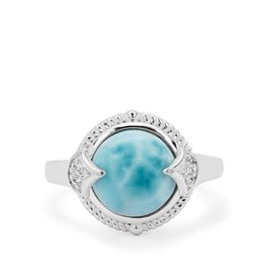 Larimar Ring with White Zircon in Sterling Silver 4.95cts