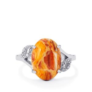 Klamath Jasper Ring with Diamond in Sterling Silver 5.48cts