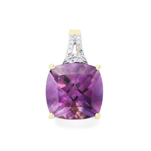 Moroccan Amethyst Pendant with Diamond in 10k Gold 4.75cts