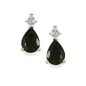 Chrome Tourmaline & White Zircon 10K Gold Earrings ATGW 1.25cts