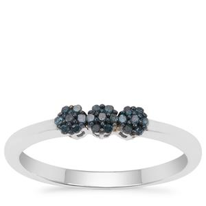 Blue Diamond Ring in Sterling Silver 0.10ct