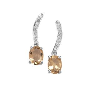 Bolivian Natural Champagne Quartz Earrings with White Zircon in Sterling Silver 2.25cts