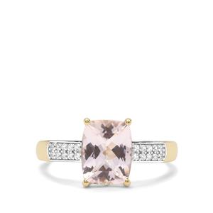 Nigerian Morganite & White Zircon 9K Gold Ring ATGW 1.97cts