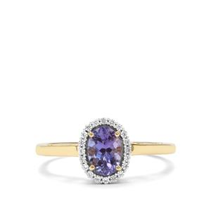 AA Tanzanite & White Zircon 9K Gold Ring ATGW 0.96cts
