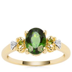 Chrome Diopside, Green Tourmaline Ring with White Zircon in 9K Gold 1.35cts