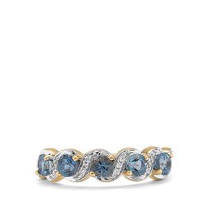 Nigerian Aquamarine & White Zircon 9K Gold Ring ATGW 0.95ct