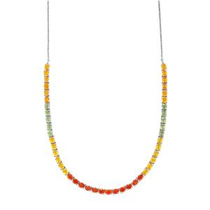 Rainbow Sapphire Necklace in Platinum Plated Sterling Silver 22.45cts