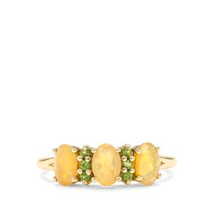 Ethiopian Opal & Chrome Diopside 9K Gold Ring ATGW 0.93cts