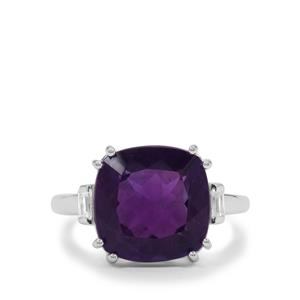 Zambian Amethyst Ring with White Zircon in Sterling Silver 6.40cts