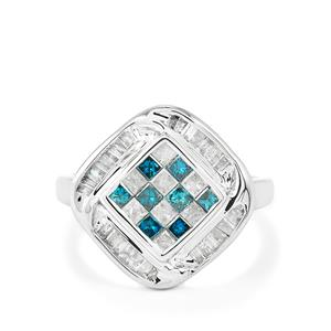 Blue Diamond Ring with White Diamond in 10k White Gold 1ct
