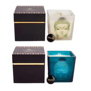 "Good Karma Buddha Candle, Amber Vanilla Fragrance with Black Obsidian ""Peace"" Stone ATGW 20cts"
