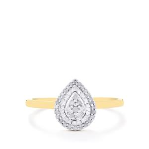 Diamond Ring in Gold Plated Sterling Silver 0.16ct